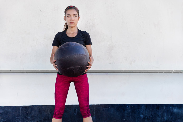 Biceps Curl with medicine ball