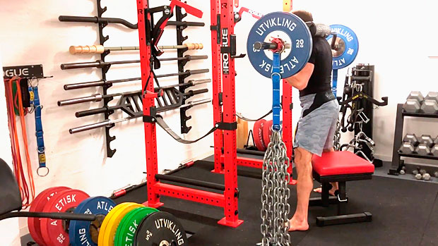 High Box Squat with Safety Bar
