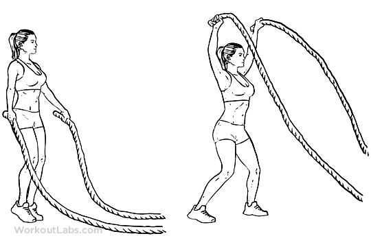 Jumping Jacks with battle ropes