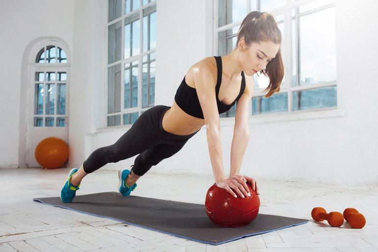 Medicine Ball Plank at home gym