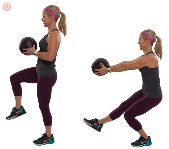 Medicine Ball Squat with a Single Leg