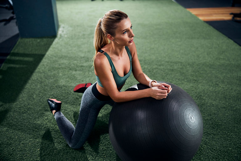 Shoulder Raises on exercise ball