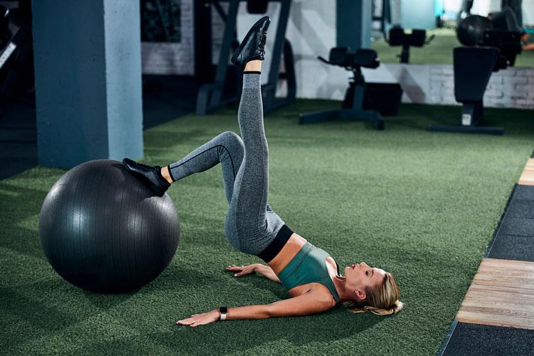 Single Leg Hip Thrust on Stability Ball