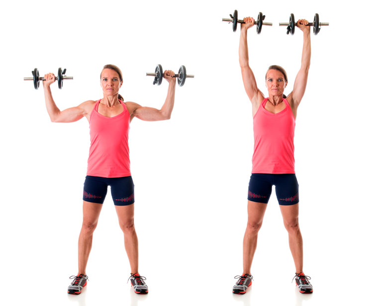 Standing Overhead Press with Dumbbells