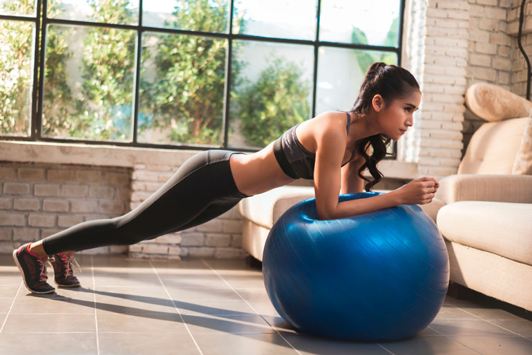 Standing Plank on exercise ball