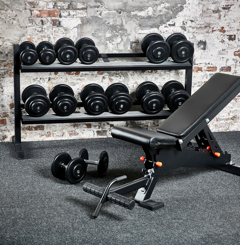adjustable bench with free weights