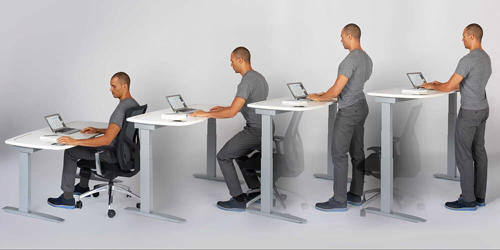 Adjustable height stand-up desks