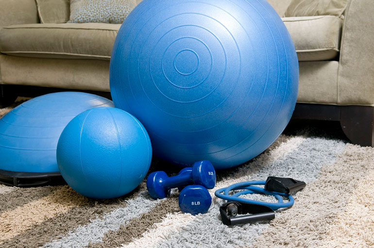 blue workout equipment on carpet