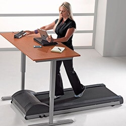 Burn calories at electric standing desk with treadmil