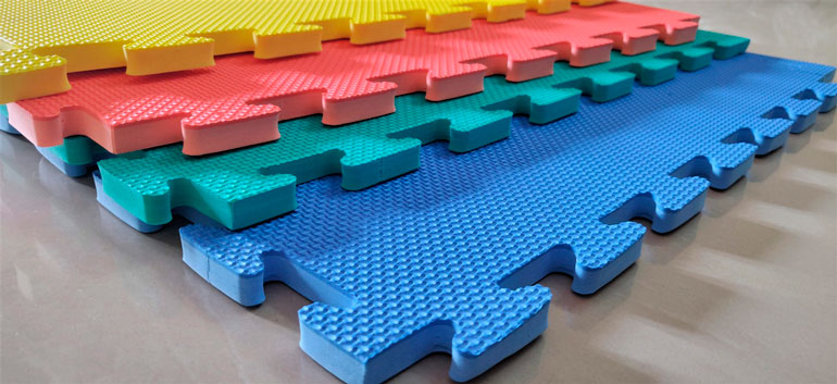 colorful foam tiles on the floor