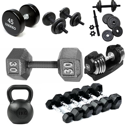 different types of dumbbells