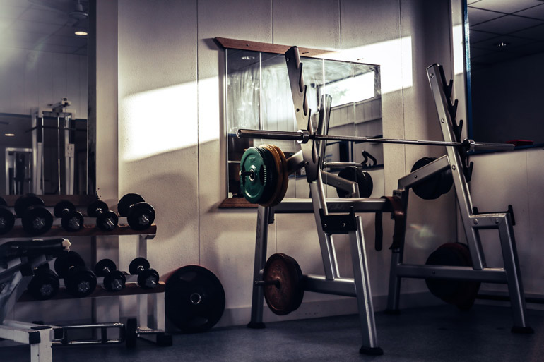 home gym with free weights