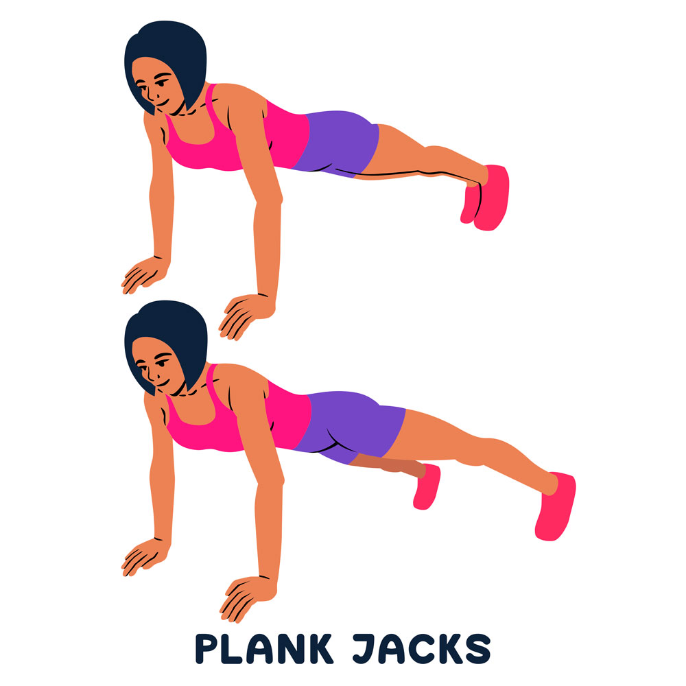 how to perform Plank Jacks chart