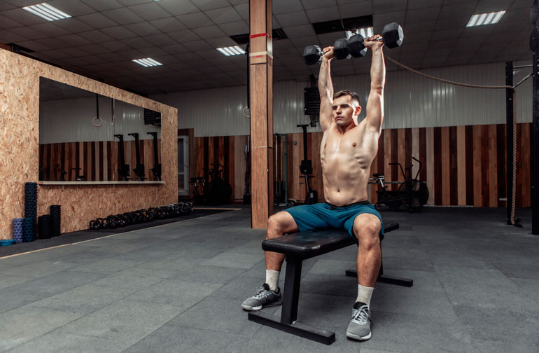 man doing seated Overhead Press