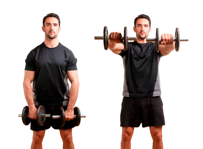 man is doing Front Raise with dumbbells
