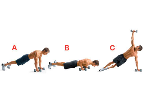 man is doing T Press Up with dumbbells