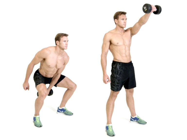 man is performing One Arm Swing with a Dumbbell