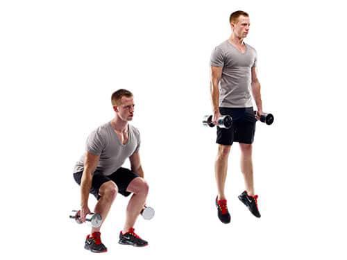 man performing Dumbbell Jump Squat