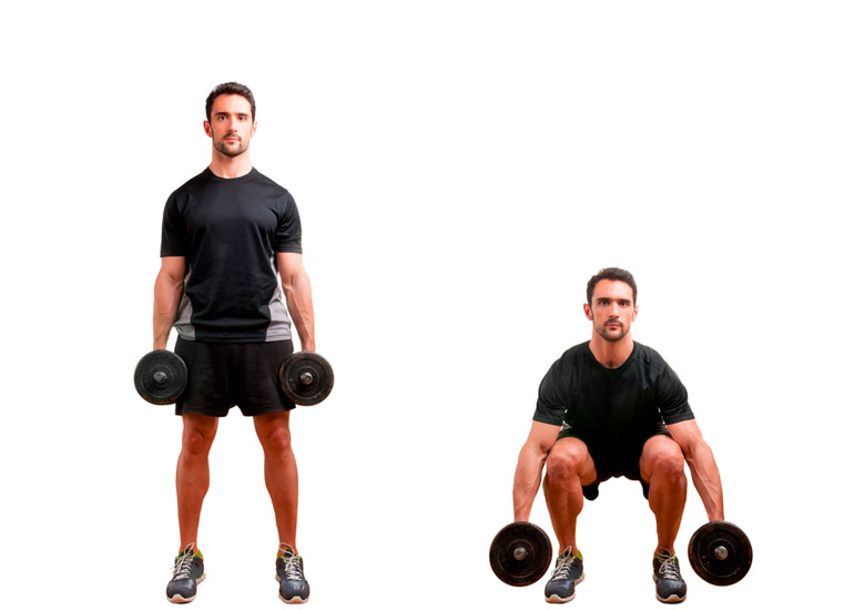 man performing Dumbbell Squat