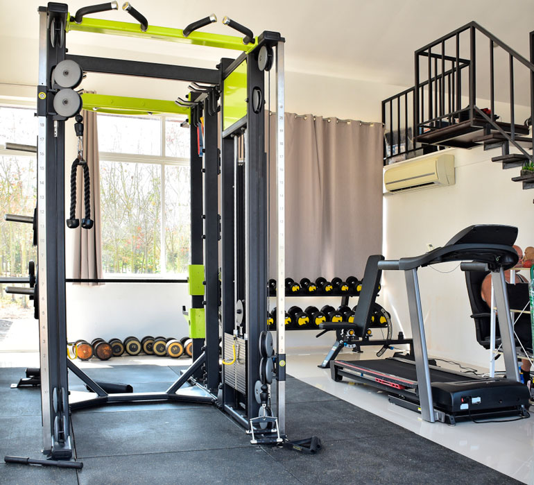 power rack and other gym equipment