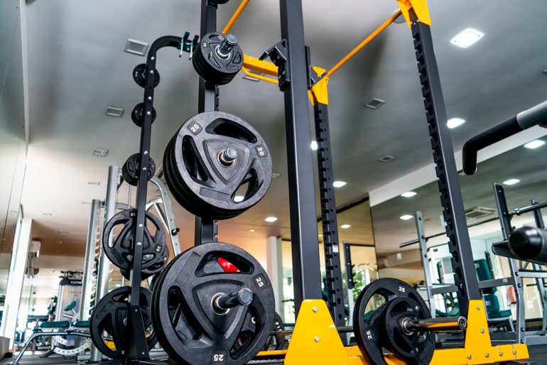 power rack with weight plates