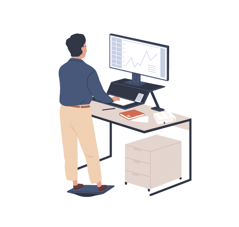 sketch with a standing desk and balance board