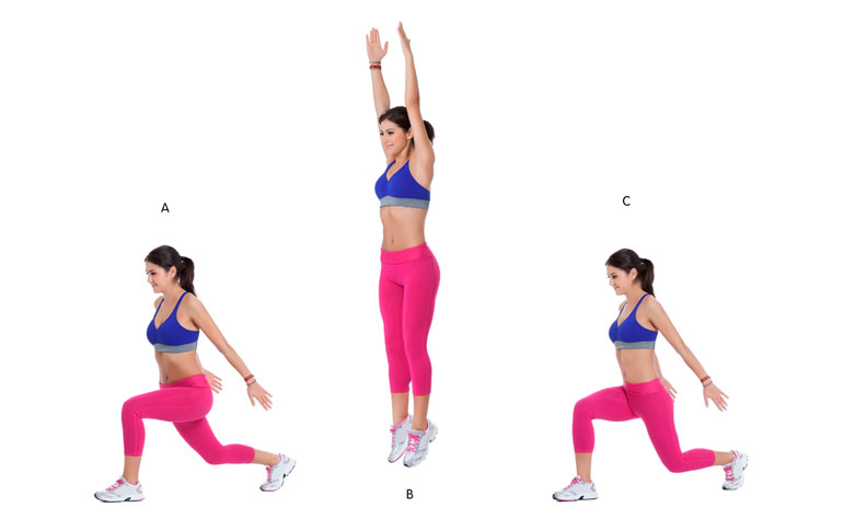 woman is doing Jumping Lunges chart