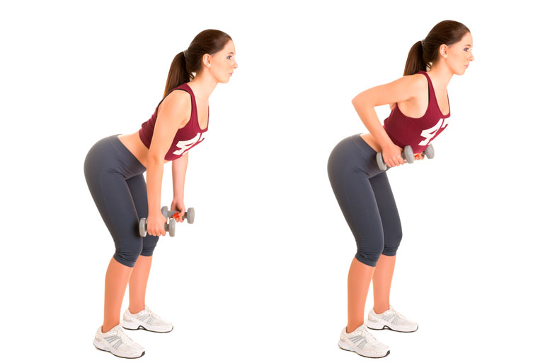 woman is doing standing Bent Over Rows