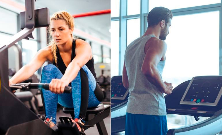 woman on rower and man on treadmill
