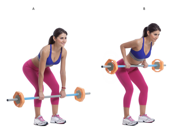 woman showing how to barbell rows