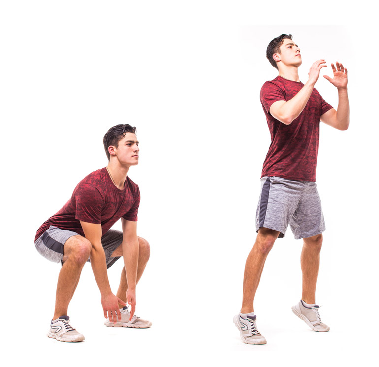 young man is performing Jump Squat